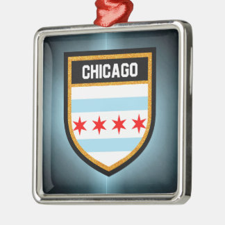 Chicago-Flagge Silbernes Ornament