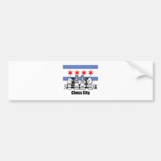 Chicago-Flagge u. Schach-Brett Autoaufkleber