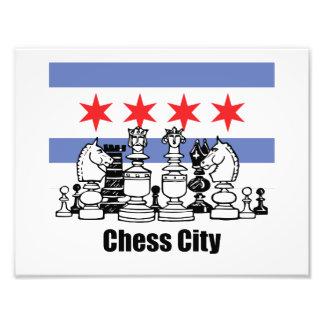 Chicago-Flagge u. Schach-Brett Fotodruck