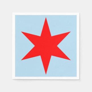 Chicago-Flaggen-roter 6-Pointed Stern, blaues Bk, Serviette