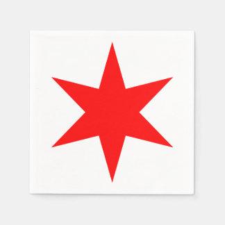 Chicago-Flaggen-roter Stern 6-Pointed Papierserviette