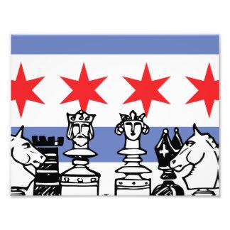 Chicago-Flaggen-Schach Fotodruck