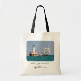 Chicago-Hafen-Leuchtturm-Leinwand-Budget-Tasche Budget Stoffbeutel