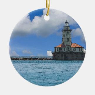 Chicago-Hafen-Leuchtturm Painterly Keramik Ornament
