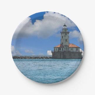 Chicago-Hafen-Leuchtturm Painterly Pappteller