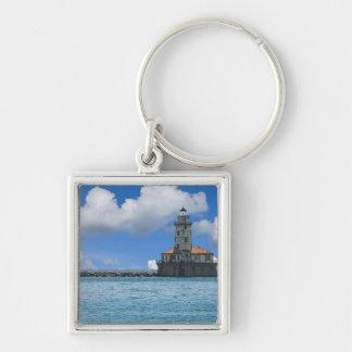 Chicago-Hafen-Leuchtturm Painterly Schlüsselanhänger