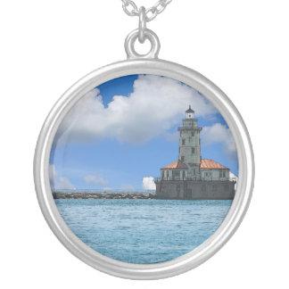 Chicago-Hafen-Leuchtturm Painterly Versilberte Kette