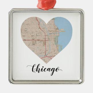 Chicago-Herz-Karte Silbernes Ornament