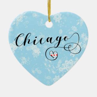 Chicago-Herz, Weihnachtsbaum-Verzierung Keramik Ornament