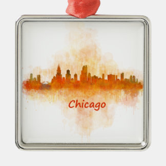 chicago Illinois Cityscape Skyline Dark Silbernes Ornament