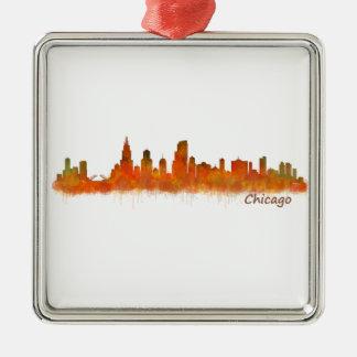 chicago Illinois Cityscape Skyline Silbernes Ornament