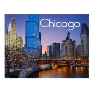 Chicago, Illinois nachts Vereinigte Staaten Postkarte
