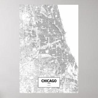 Chicago, Illinois (Schwarzes auf Weiß) Poster