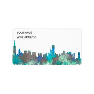 Chicago Illinois Skyline-SG-Dschungel Adressaufkleber