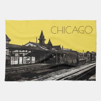 Chicago L Aquarellsepia-Fotografie-Untergrundbahn Handtuch