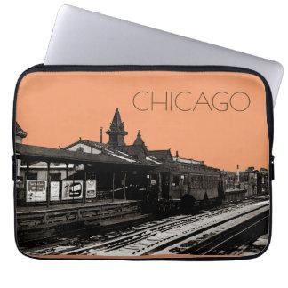 Chicago L Aquarellsepia-Fotografie-Untergrundbahn Laptopschutzhülle