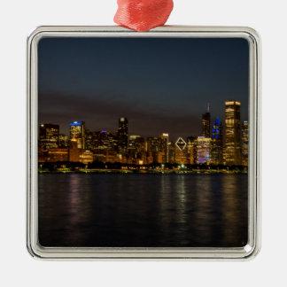Chicago-NachtStadtbild Silbernes Ornament