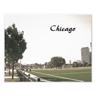 Chicago-Park in den Sepia-Tönen Fotodruck