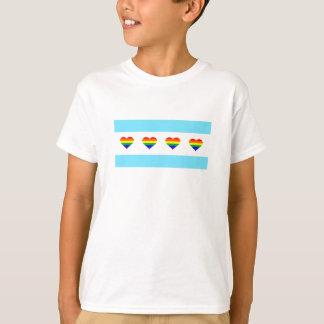 Chicago-Regenbogen-Herz-Flagge T-Shirt