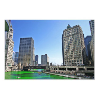 Chicago River an Tag St. Pattys Fotodruck