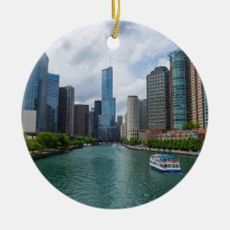 Chicago River und Trumpf-Turm Keramik Ornament