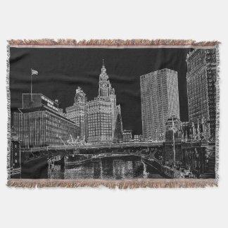 Chicago River Wrigley Gebäude 1967 Sun setzt Zeit Decke