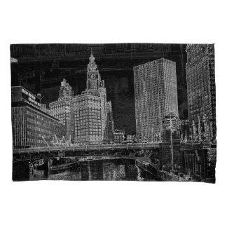 Chicago River Wrigley Gebäude 1967 Sun setzt Zeit Kissenbezug