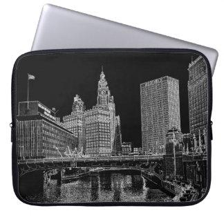 Chicago River Wrigley Gebäude 1967 Sun setzt Zeit Laptopschutzhülle