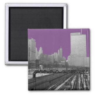 Chicago-Schienen-Yard-Michigan-Alleensechziger Quadratischer Magnet