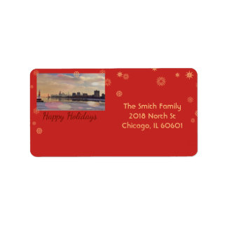 Chicago-Skyline - frohe Feiertage Adressaufkleber