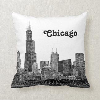 Chicago-Skyline geätzt Kissen
