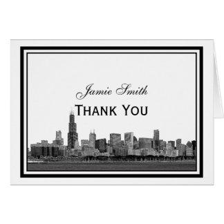 Chicago Skyline geätztes gerahmtes H danken Ihnen Grußkarte