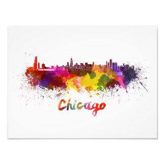 Chicago skyline im Watercolor Fotodruck