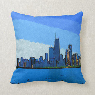 Chicago-Skyline in der Collagen-Farbe Kissen