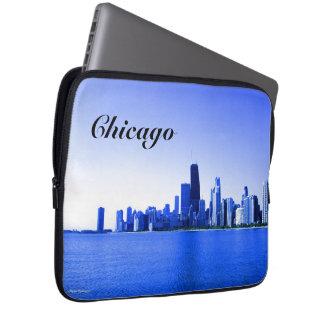 Chicago-Skyline-Königsblau-Höhepunkte Laptop Sleeve