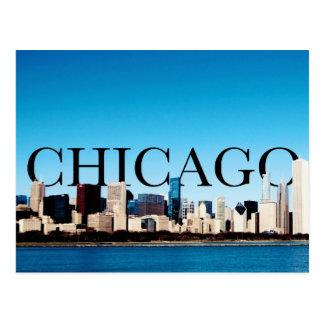 Chicago-Skyline mit CHICAGO im Himmel Postkarten