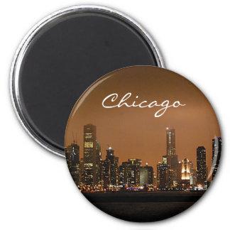 Chicago-Skyline nachts am Marine-Pier Runder Magnet 5,7 Cm