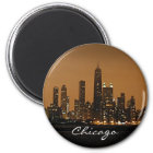 Chicago-Skyline nachts in Mitte Johns Hancock Runder Magnet 5,7 Cm