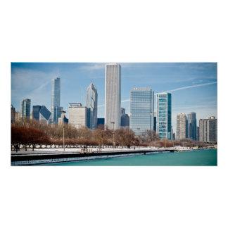 Chicago-Skyline über gefrorenem Michigansee Poster