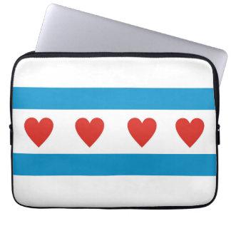 Chicago-Stadt-Liebe-Flaggenherzen USA Vereinigte Laptopschutzhülle
