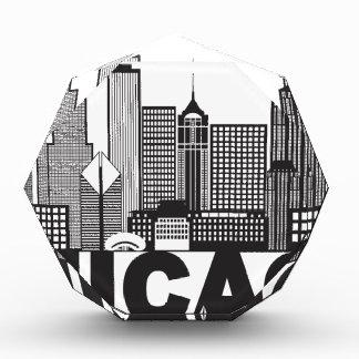 Chicago-Stadt-Skyline-Text Schwarzweiss Auszeichnung