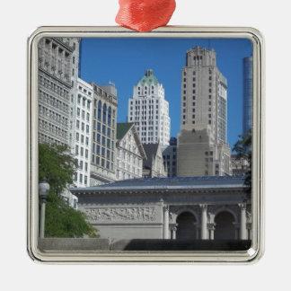 Chicago-Stadtbild Quadratisches Silberfarbenes Ornament
