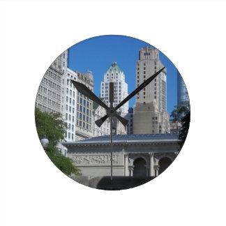 Chicago-Stadtbild Runde Wanduhr