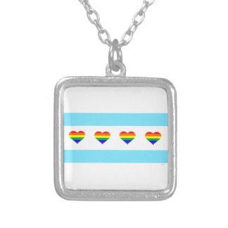 Chicago-Stolz-Regenbogen-Herz-Flaggen-Halskette Versilberte Kette
