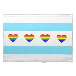 Chicago-Stolz-Regenbogen-Herz-Flaggen-Tischset Tischset