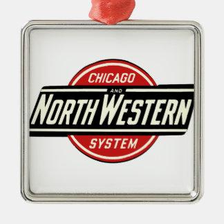 Chicago u. nordwestliches Eisenbahn-Logo 1 Quadratisches Silberfarbenes Ornament