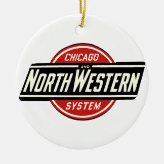 Chicago u. nordwestliches Eisenbahn-Logo 1 Rundes Keramik Ornament