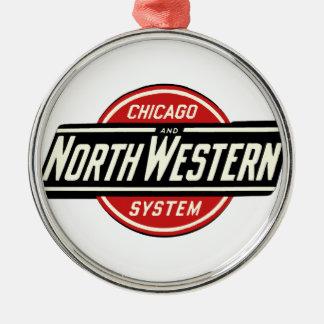 Chicago u. nordwestliches Eisenbahn-Logo 1 Rundes Silberfarbenes Ornament