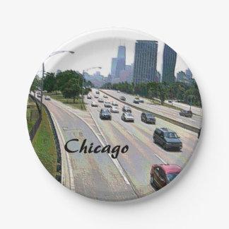 Chicago-Verkehr im Sandstein Pappteller