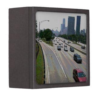 Chicago-Verkehr im Sandstein Schachtel